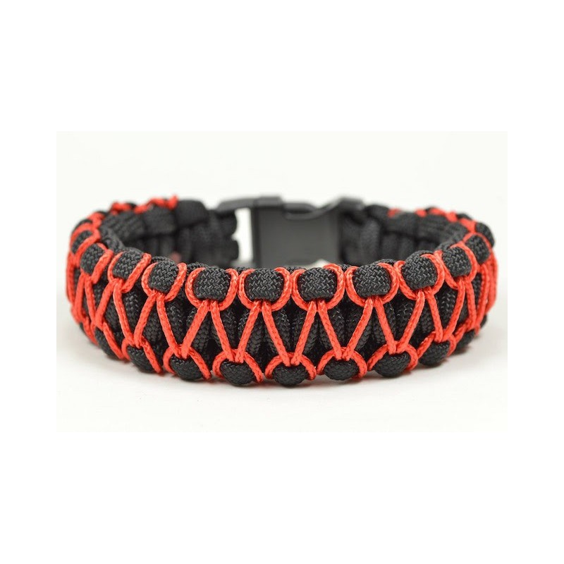 Bracelet Cobra Zipper Paracord noir et rouge
