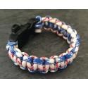 Bracelet Cobra Paracord Bleu/Blanc/Rouge