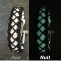 """Bracelet Cobra """"haute Couture"""" Paracord noir et blanc phospho"""
