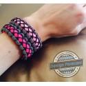 """Bracelet Cobra """"haute Couture"""" Paracord rayée et rose, couture noir"""