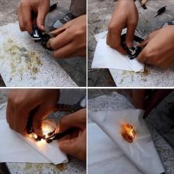 Allumez facilement un feu avec la pierre et le grattoir