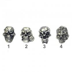 Têtes de morts, Cranes chromés en alliage de zinc pour bracelet, lanyard en paracord.