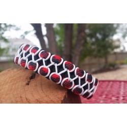Bracelet Cobra Zipper blanc Paracord noir et rouge
