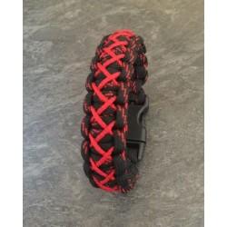 """Bracelet Cobra """"haute Couture"""" Paracord noir et rouge"""