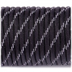 black  - Reflective Paracord 550 type III (noir)